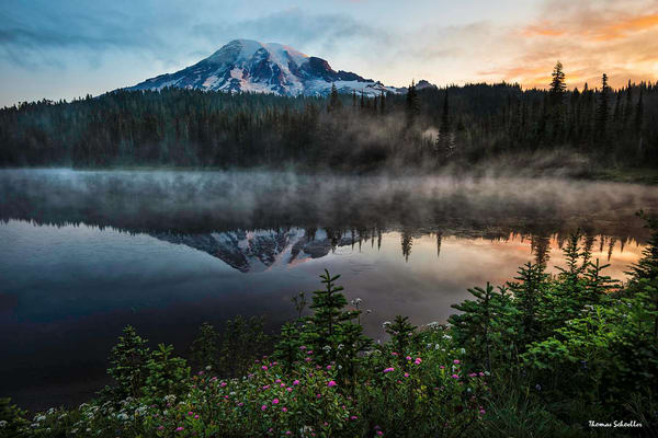 Mt Rainier reflections at sunrise Photo Art Prints | Reflection Lakes luxury art