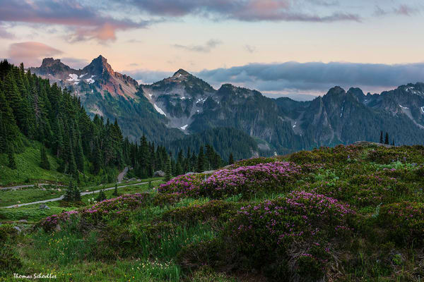 Tatoosh Range viewed from Rainier's Skyline Trail at sunset | Stunning photo art prints