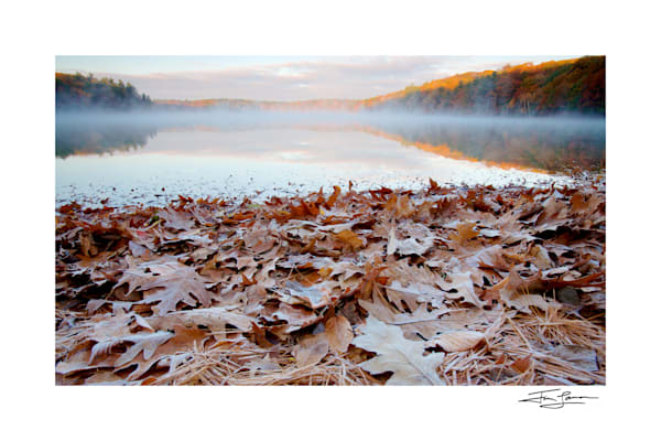 Photo of a frosty fall sunrise at Walden Pond printed on photographic paper.