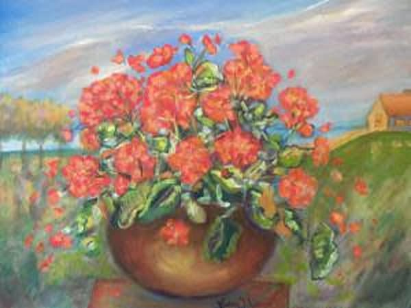 """""""Cottage Row Geraniums"""" Art 