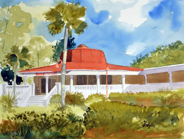 A watercolor of the Sanibel restaurant Cheeburger Cheeburger by Sanibel Artist Shah Hadjebi