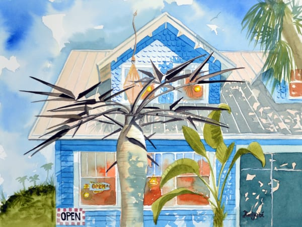 A second painting of the famous Tower Gallery, Sanibel by artist Shah Hadjebi