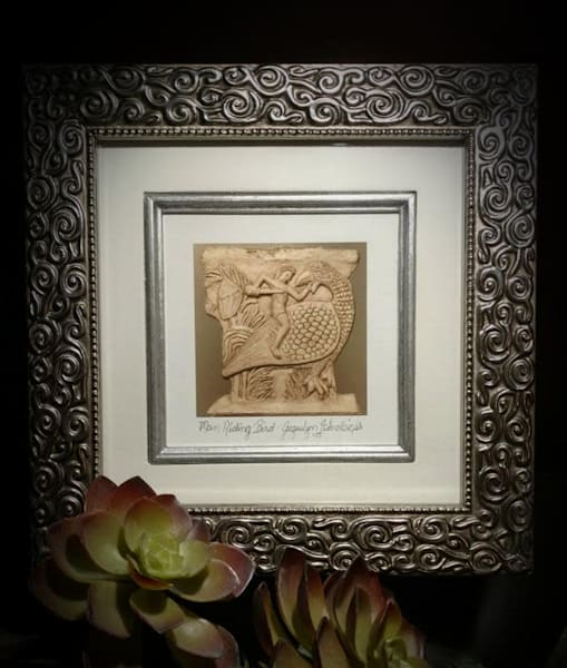 """Man Riding Bird"" Framed Print Art 