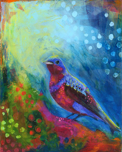 Dreamy Bird, Mixed Media On Canvas Art   Jessica Hughes Fine Art