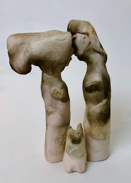 "New ceramics series by Monique Sarkessian ""Kissing Couple 3"" (raku clay bisque fired and smoked), Pair of figures each 6.5""x1"" clay plus cat."