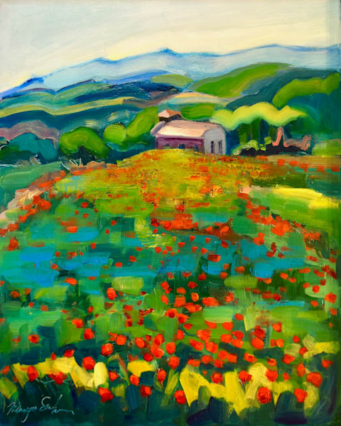 """Plein air oil painting I did in Tuscany of the red poppy field by Palazzo Massaini Winery and castle!! Oil and mixed media on wood, 14""""x11"""" framed with a white wood floater frame."""