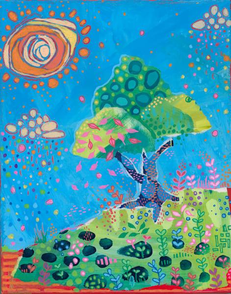 Colored Rain Tree, Original Mixed Media Art   Jessica Hughes Fine Art