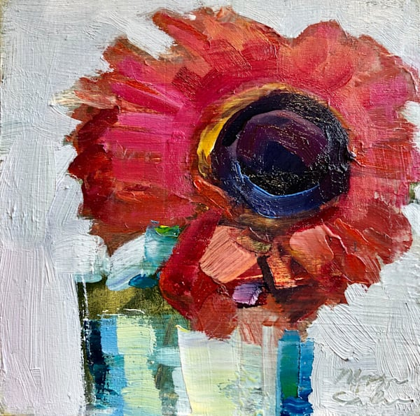 """Still Life With Gerbera Daisy 2"". beautiful floral oil painting. Original fine art by Monique Sarkessian. oil  painting on wood measures 4""x4"", mounted in a white 6"" x 6"" birch backing panel."