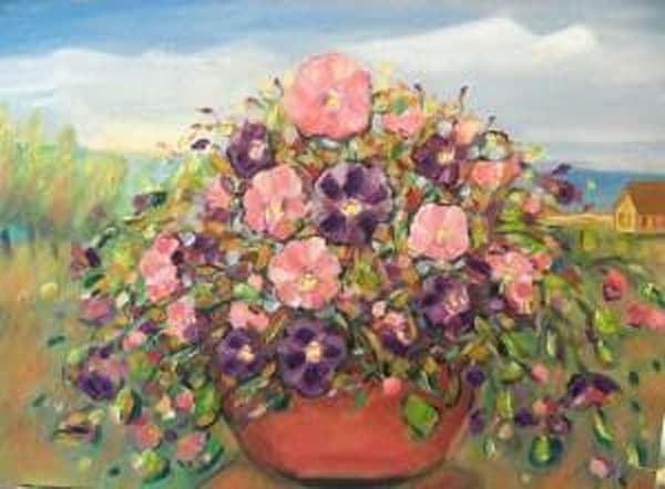 """""""Cottage Row Pansies"""" Art 