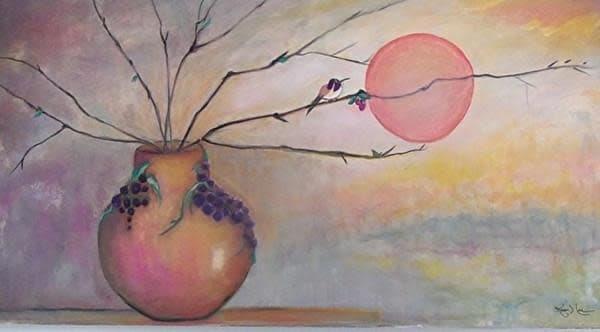 """Vineyard Hummingbird"" Art by cindyharr.com"