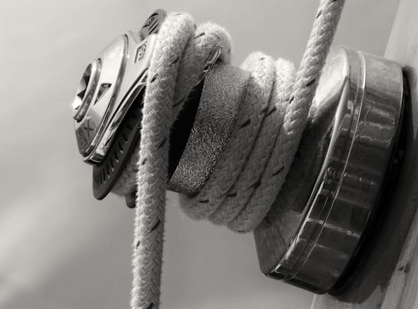 Sailboat Winch In Monochrome Photography Art | TONYGRIDERIMAGES.COM
