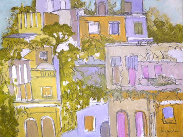 Sorrento Italy Architecture Painting, by Dorothy Fagan