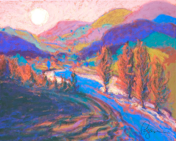Sunset Mountains Painting, Fine Art Print by Dorothy Fagan