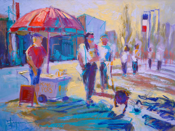 Ice Cream Man Print, Limited Edition on Canvas by Dorothy Fagan