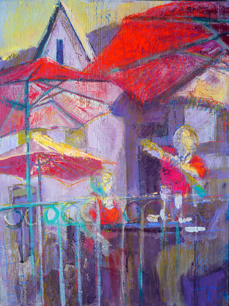 Wine Cafe Scene Painting, Limited Edition Print by Dorothy Fagan