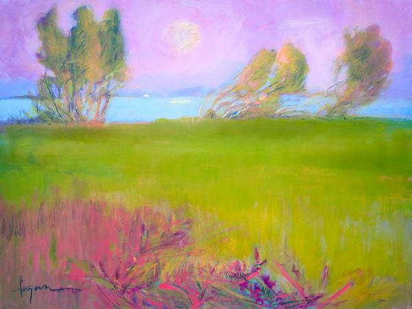 Green Meadow Painting, Limited Edition Print by Dorothy Fagan