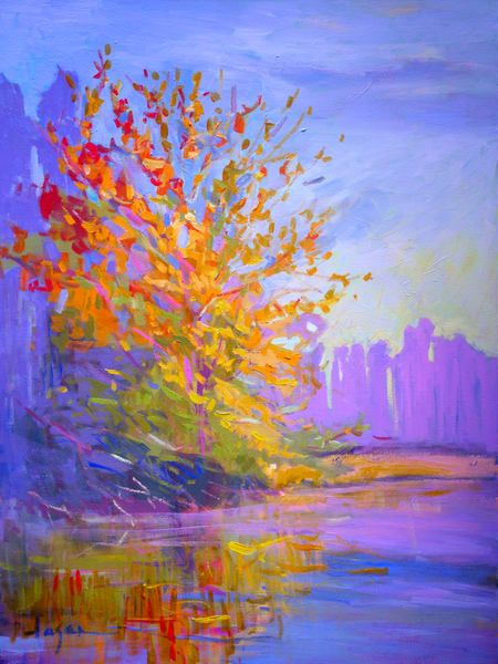 Beautiful Fall Colors Tree Painting, Limited Edition Print by Dorothy Fagan