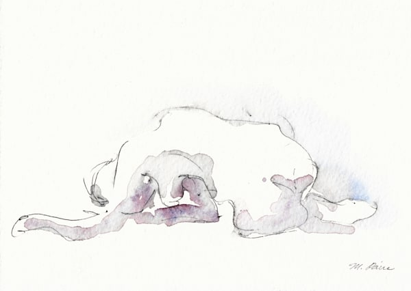 Crawling Blue Figure Original Ink And Watercolor Art | Michelle Arnold Paine Fine Art