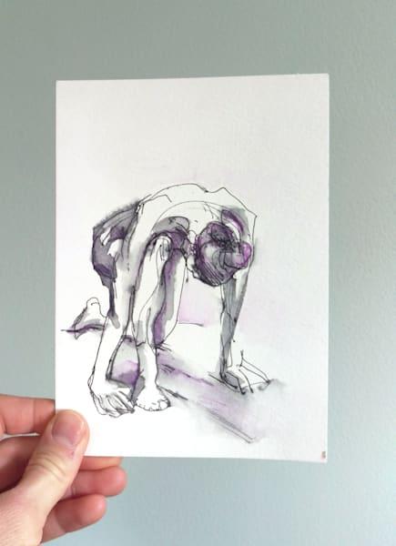 """Frail"" Kneeling Original Ink And Purple Figure Drawing Art | Michelle Arnold Paine Fine Art"