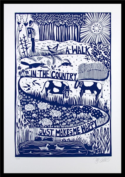 A Walk in the Country - linocut