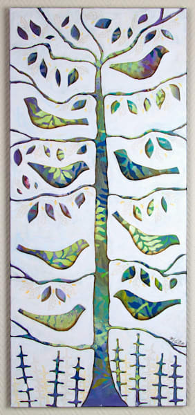 Sold  Birds In A Tree   Acrylic On Canvas, Ready To Hang Art | mariannjohansen-ellis