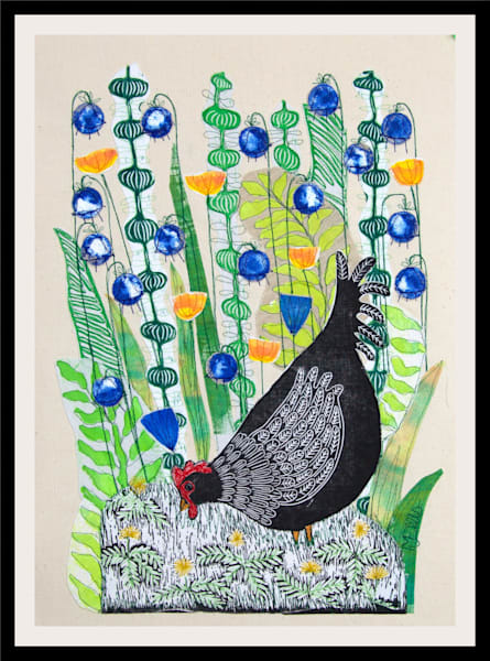 Doris in the Bluebells - linocut textile collage