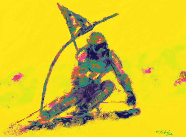 Slalom skiing Painting | Sports artist Mark Trubisky | Custom Sports Art