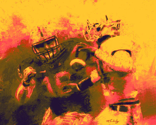 Football Action Painting | Sports artist Mark Trubisky | Custom Sports Art.