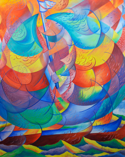 A Spirited Wind - Sailboat Painting on Canvas