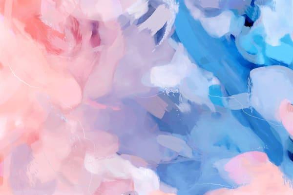 Amara - Large pink and blue abstract art print