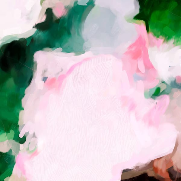 Jolie - Pink and green abstract art print