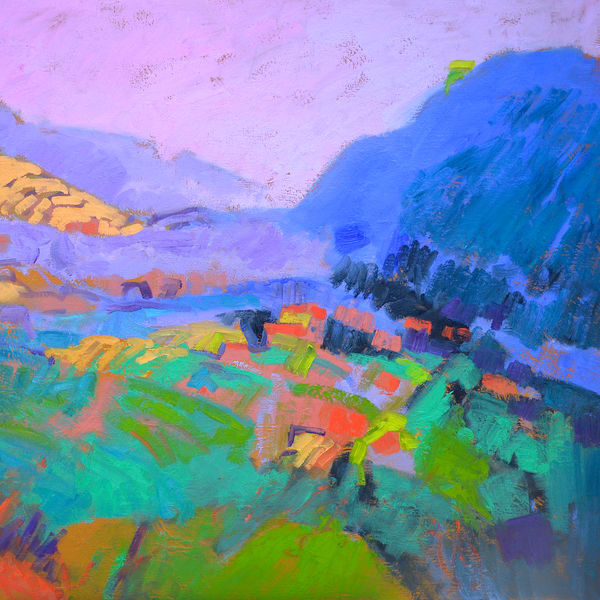 Small Abstract Mountain Landscape painting Print by Dorothy Fagan