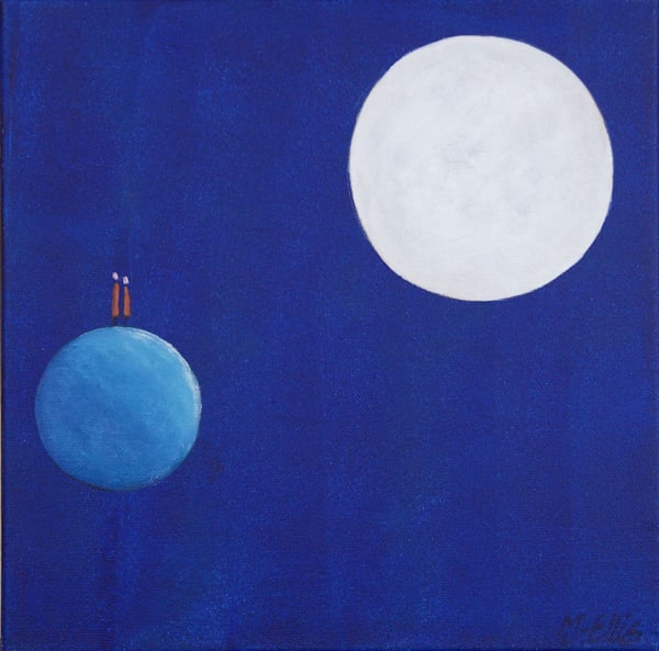 Sold Conversation With The Moon   Ready To Hang Painting Art | mariannjohansen-ellis