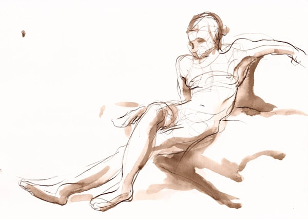 """""""Ornament"""" Reclining Female Nude Pen And Ink Drawing Art 