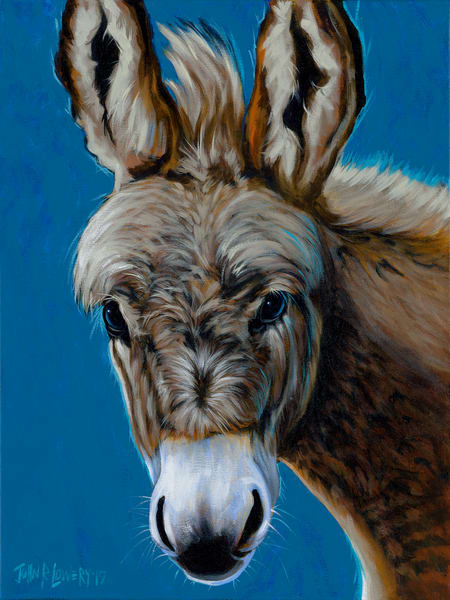 Painting of a furry blonde donkey