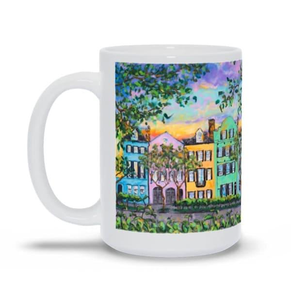 Rainbow Row Coffee Mug 15oz
