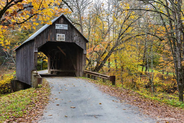 Chelsea Vermont scenic Moxley Covered bridge | Fall foliage photo art prints for sale