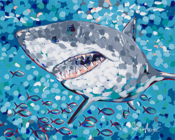 Acrylic Painting of a great white shark in the deep blue ocean.