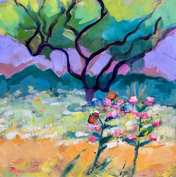 "Beautiful ""Butterfly Joys 2"" plein air  expressionist oil painting by Monique Sarkessian."