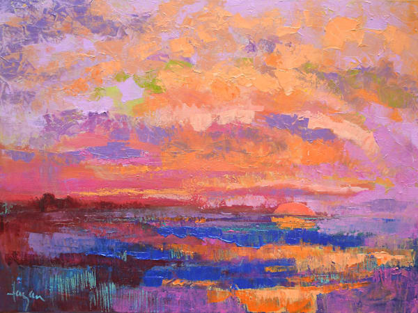 Twilight Sunset Painting, Original Oil by Dorothy Fagan