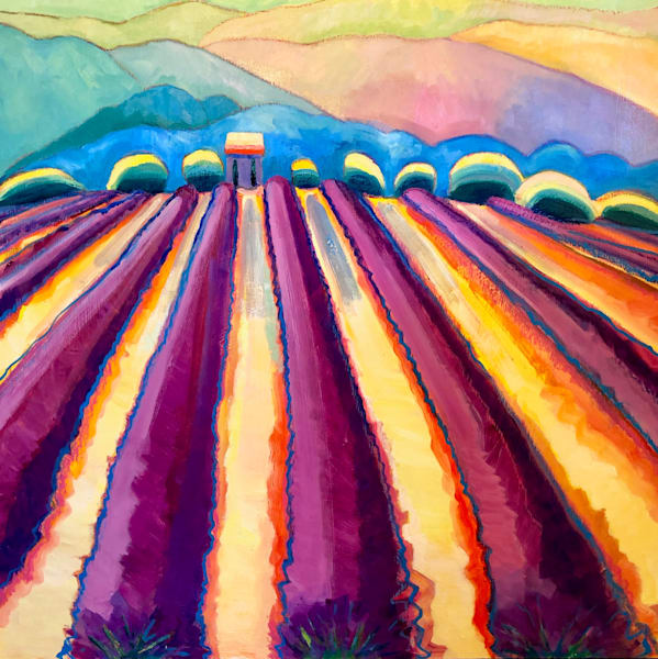 """""""Provence Lavender Glow"""" oil painting landscape by Monique Sarkessian 40""""x40"""". Beautiful lavender fields in France."""