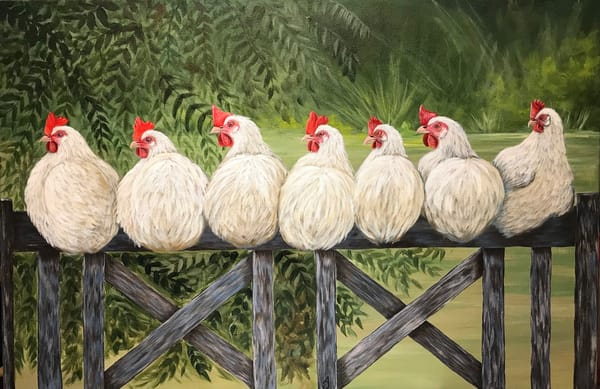 Chickens On A Fence Art | alanajudahart