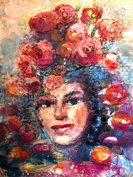 """""""Clothed in Glory Radiant Woman with Red Ranunculus"""" painting is done with encaustic wax by Monique Sarkessian."""