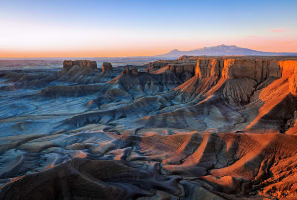 blue dawn light in the cainville badlands