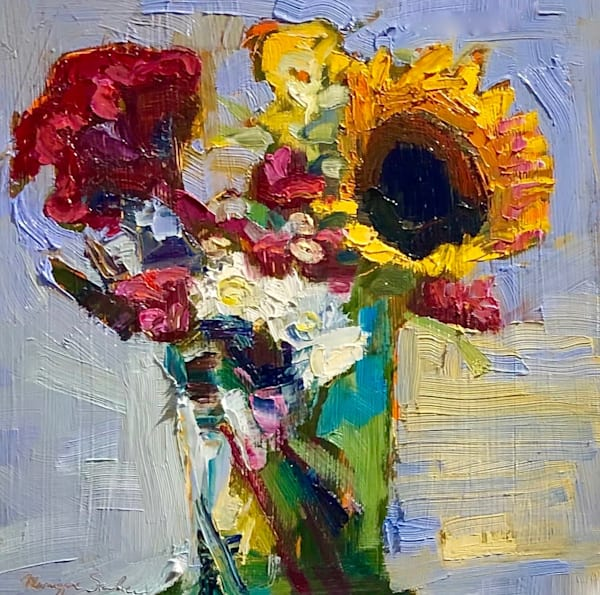 "Beautiful expressionist still life oil painting by Monique Sarkessian. ""Still Life with Cockscomb Sunflower and Mums"", oil on wood is 12""x12""."