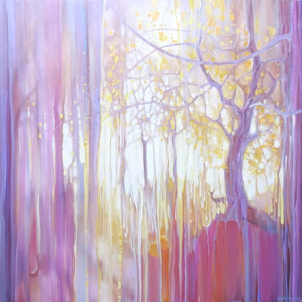 A purple contemporary oil painting of an oak tree and a deer in an autumn forest clearing.