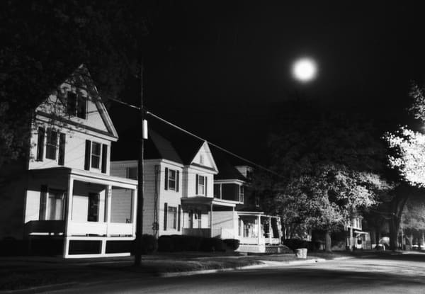 Moon & Small Town Street Photography Art | Peter Welch