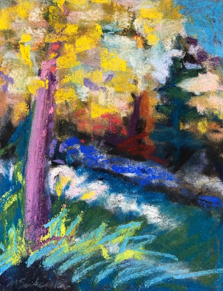 """Where Your Glory Dwells 137  Golden Aspens Early Light"" by Monique Sarkessian. Pastel painting on Wallis sanded paper 7""x 4""."