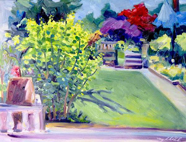 """Plein air expressionist oil painting """"Chanticleer Golden Smoke Tree"""" by Monique Sarkessian 16""""x 20""""."""