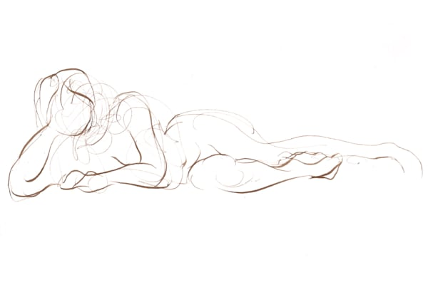 Reclining Female Figure Line Drawing